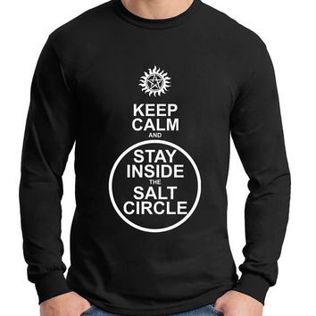 Keep Calm And Stay Inside The Salt Circle Winchester Brothers Supernatural Longsleeve Men Tshirt