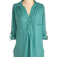 Pam Breeze-ly Tunic in Aqua | Mod Retro Vintage Long Sleeve Shirts | ModCloth.com