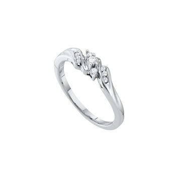 10k White Gold Round Diamond 3-stone Womens Bridal Wedding Engagement Promise Ring Slender 1/10 Cttw 20310