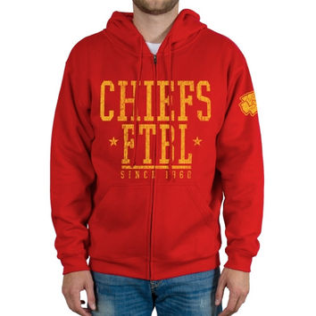 Kansas City Chiefs Front And Sleeve Full Zip Jacket - Red