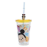 Disney Store Tsum Tsum Acrylic Tumbler Straw Cup Minnie Mickey Pooh Eeyore