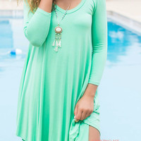 Follow Your Heart Deep Mint V-Neck Long Sleeve Dress