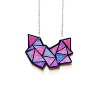 Galaxy Space Geometric Bib Necklace, Suede Leather Jewelry | Boo and Boo Factory - Handmade Leather Jewelry