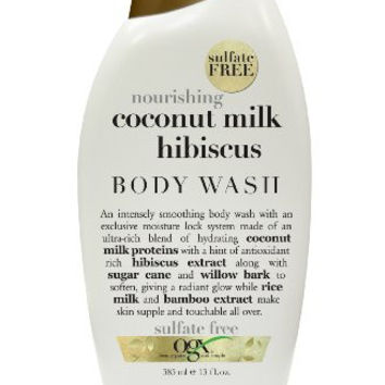 OGX Creamy Body Wash,  Nourishing Coconut Milk Hibiscus, 13oz