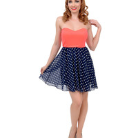 Neon Coral & Navy & White Dot Strapless Two Tone Flare Dress
