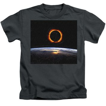 Solar Eclipse From Above The Earth Painting - Kids T-Shirt
