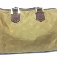 Vintage Christian Dior beige handbag purse in  logo jacquard nylon and wine leather trimmings. Mini duffle bag. Unisex use.