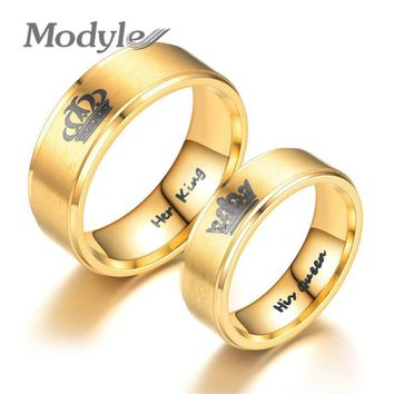 Trendy Modyle 2018 New Gold Color King And Queen Stainless Steel Crown Couple Rings For Couples Love Promise Rings For Woman AT_94_13
