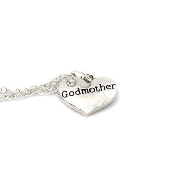 Godmother Charm Necklace, Charm Jewelry, Godmother Gift Necklace, Godmother Pendant, Everyday Jewelry, Godmother Heart Charm