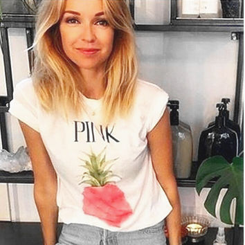 Victoria's secret PINK print pineapple women fashion T-shirt Top