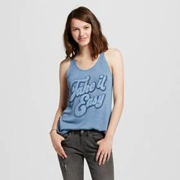 "Women's ""Take It Easy"" Graphic Racerback Tank Light Blue - L.O.L. Vintage : Target"