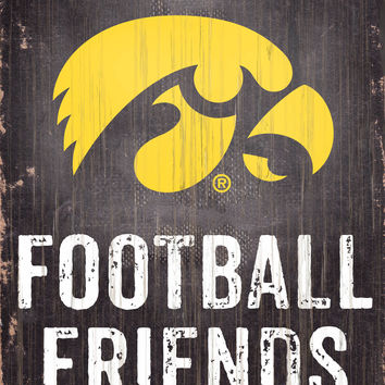 "Iowa Hawkeyes Wood Sign - Football Friends and Family - 6""x12"""