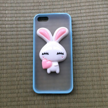 animal case pink rabbit charm phone case for iphone 5 5s colorful silicone frame hard back