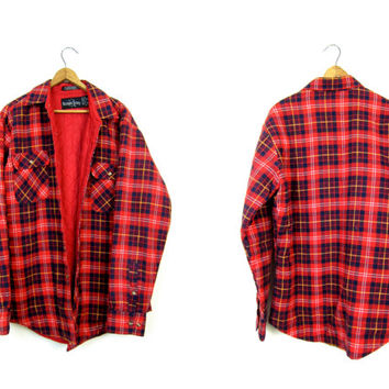 Insulated Flannel Jacket RED BLUE Plaid Flannel Shirt Button Up Quilted Lined Shirt Thick Fall Flannel Coat Mens Utility Work Shirt Medium