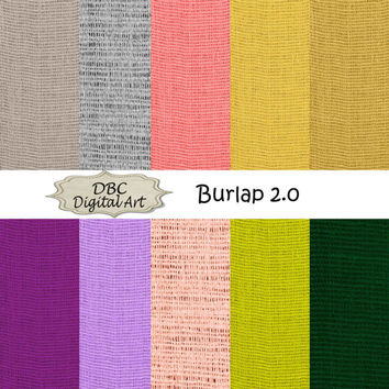 Burlap scrapbooking digital paper digital download background stationary in dark gold, gray, green, purple, red, salmon, sandstone, yellow