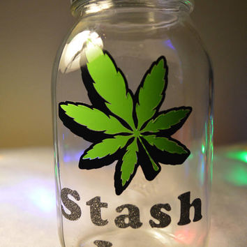 Stash Jar Savings Mason Jar Piggy Bank Pot Leaf Vinyl Decal Glitter Vinyl