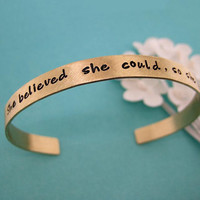 Personalized Cuff Bracelet - Hand stamped brass (NuGold) keepsake - She believed she could, so she did. (BN005)