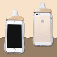 Soft Silicone TPU Cover Transparent 3D Rubber Baby Nipple Milk Bottle Feeding Clear Case For Iphone 5 5s SE Gold