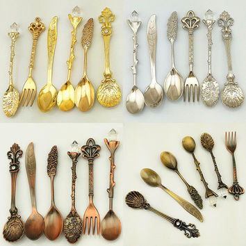 6Pcs Set Vintage Style Spoon & Forks Sweet Coffee Dessert Cutlery Snack Decor Lovely Detailed Exquisite Retro