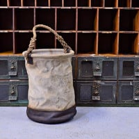 Large Vintage Linemans Tool Bag, Canvas And Leather Tool Bag