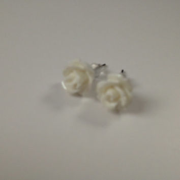 Rosette Earrings, White, Rose, Flower, Earrings, Bridesmaid gift, Gift, Stud Earrings, Ready to ship