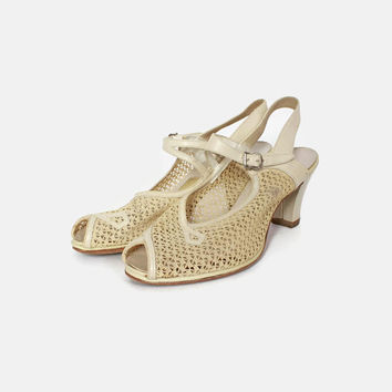 Vintage Ivory Mesh HEELS / 1940s Cream Leather & Mesh Peep Toe Spring Summer Shoes