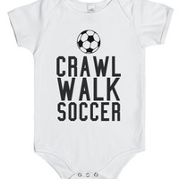 Crawl Walk Soccer Baby One Piece-Unisex White Baby Onesuit 00