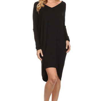 Sexy Pencil Knee-Length Dress Plus Sizes Brief Vestidos Full Batwing Sleeve V-neck Women Dresses 71997 SM6