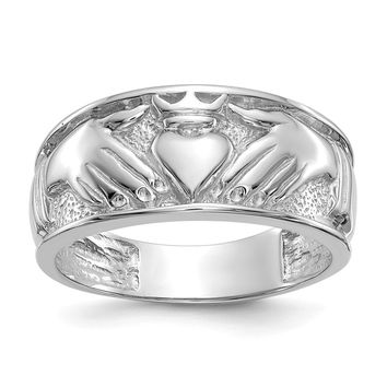 14k Yellow or White Gold Men's Claddagh Ring