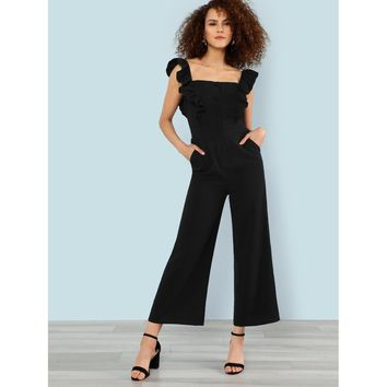 Button Up Wide Leg Jumpsuit With Ruffle Strap