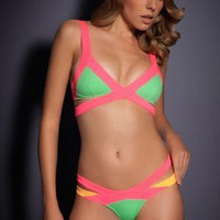 Pink and Green Color Block Strappy Cut-Out Bikini Swimsuit