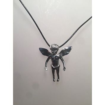 Vintage Handmade Silver Stainless Steel Gothic Angel Pendant Necklace