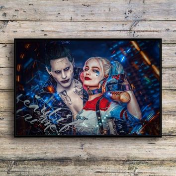 Suicide Squad Joker and Harley Quinn Canvas Print Wall Art Fashion Home Decor Living Room bedroom Oil Paintings