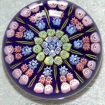 Pre 1978 Perthshire Concentric Millefiori 10 Spoke / Radial Cartwheel Art Glass Paperweight 1-2-2 formation PP2 Scottish Glass (ref: 3162)