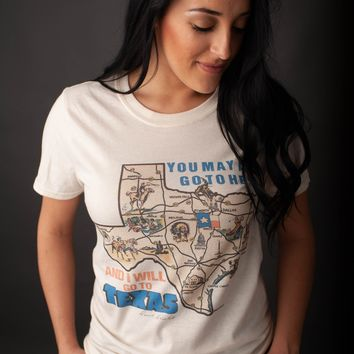 """Gina """"You May All Go To Hell....I'll Go To Texas!"""" Natural Crew Neck Tee"""