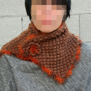 Warm and beautiful hand knit brown short scarf with detachable flower brooch