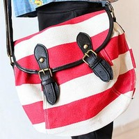 Leisure Strip Print Canvas Crossbody Bag