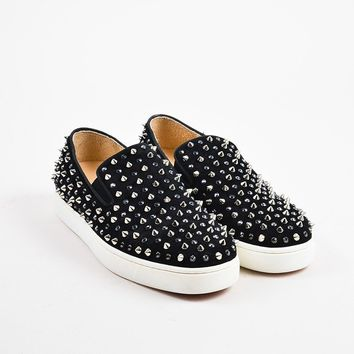 CREYU2C ?Christian Louboutin Black Suede Spike Roller Slip On Sneakers