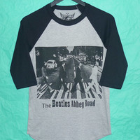 The Beatles raglan tshirt S,M,L,XL Abbey road gray black tee /crewneck baseball shirt/  men tee/ women t shirts ,black teen fashion apparel