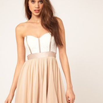 ASOS Skater Dress With Lace Bustier at asos.com