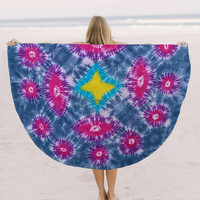 """Round Roundie psychedelic Indian Art Tapestry Beach Throw Yoga Mat Towel Decor 70"""""""