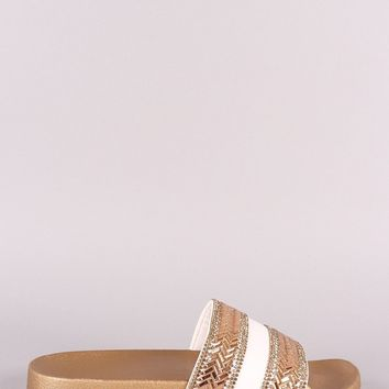 Qupid Rhinestone With Jewels Open Toe Slide Sandal