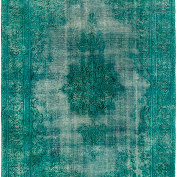 "6'4"" x 9'3"" Teal Turkish Overdyed Rug"