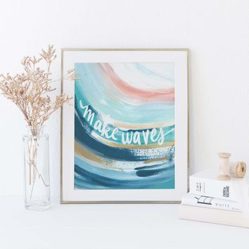 Make Waves Ocean Abstract Blue + Pink Wall Art Print or Canvas