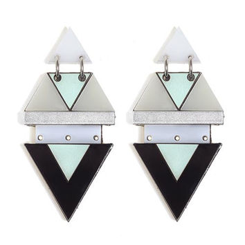 manjha earrings-Statement earrings, geometric earrings in light blue and wood