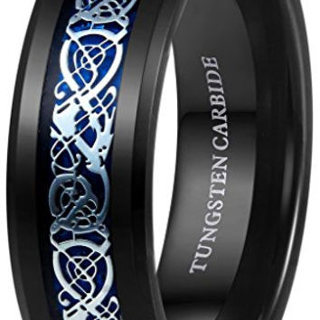 8mm Mens Tungsten Carbide Rings Dragon Wedding Engagement Band Blue Black Beveled Edge
