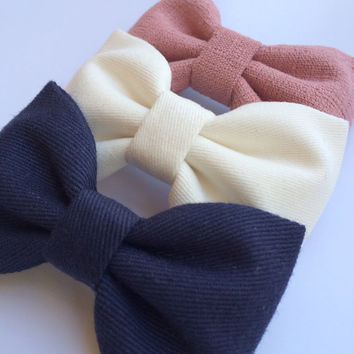 Winter white, textured mauve and navy Seaside Sparrow hair bow lot.  Perfect birthday gift for any girl.