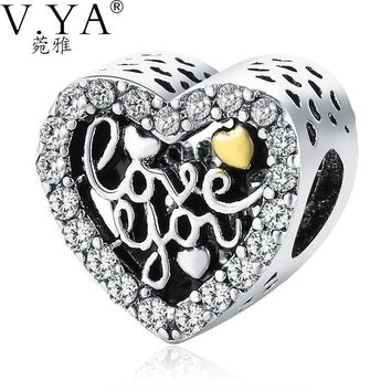 """Crystal Beads Charms Fit Pandora Bracelets Necklaces""""love you""""  for Women Mother's Gifts"""