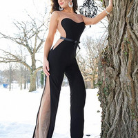 Jovani 79180 Black Jersey Sheer Illusion Prom or Evening Jumpsuit SALE
