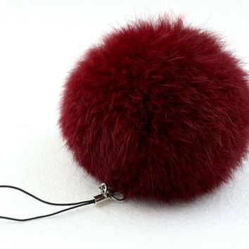 Rabbit Fur Pom Ball Key Chain